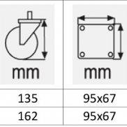 Točkovi za kolica   SIVI termoplastik  OKRETNI