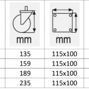 Točkovi VELIKE nosivosti za kolica sa KOČNICOM-OKRETNI